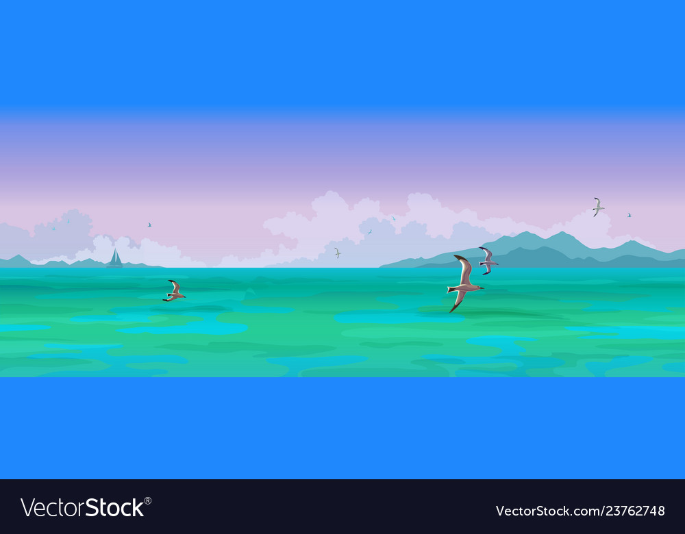Seascape sailing boats and seagulls flying