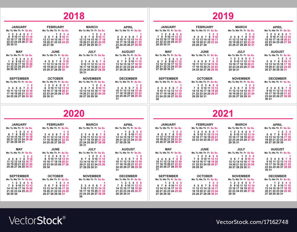 Wall Calendar 2020 Set wall calendar 2018 2019 2020 2021 grid Vector Image