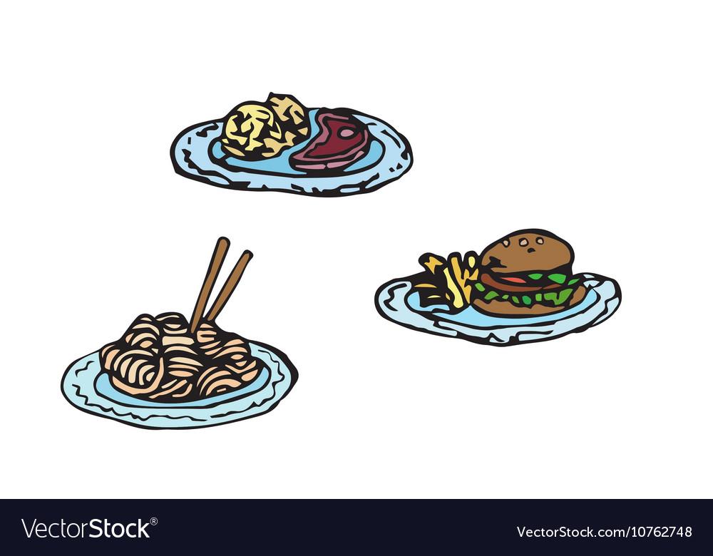 Simple sketch of fast food Meat set