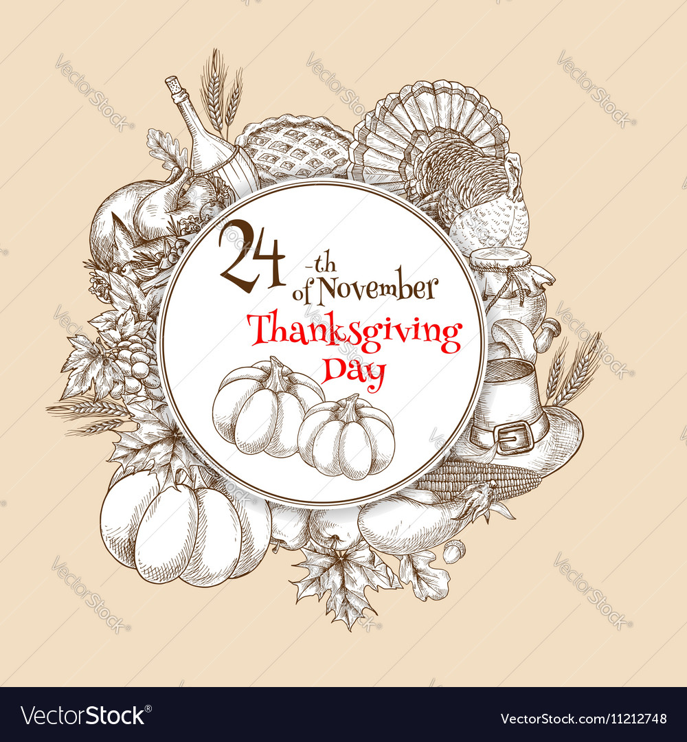 Thanksgiving Day sketch banner emblem