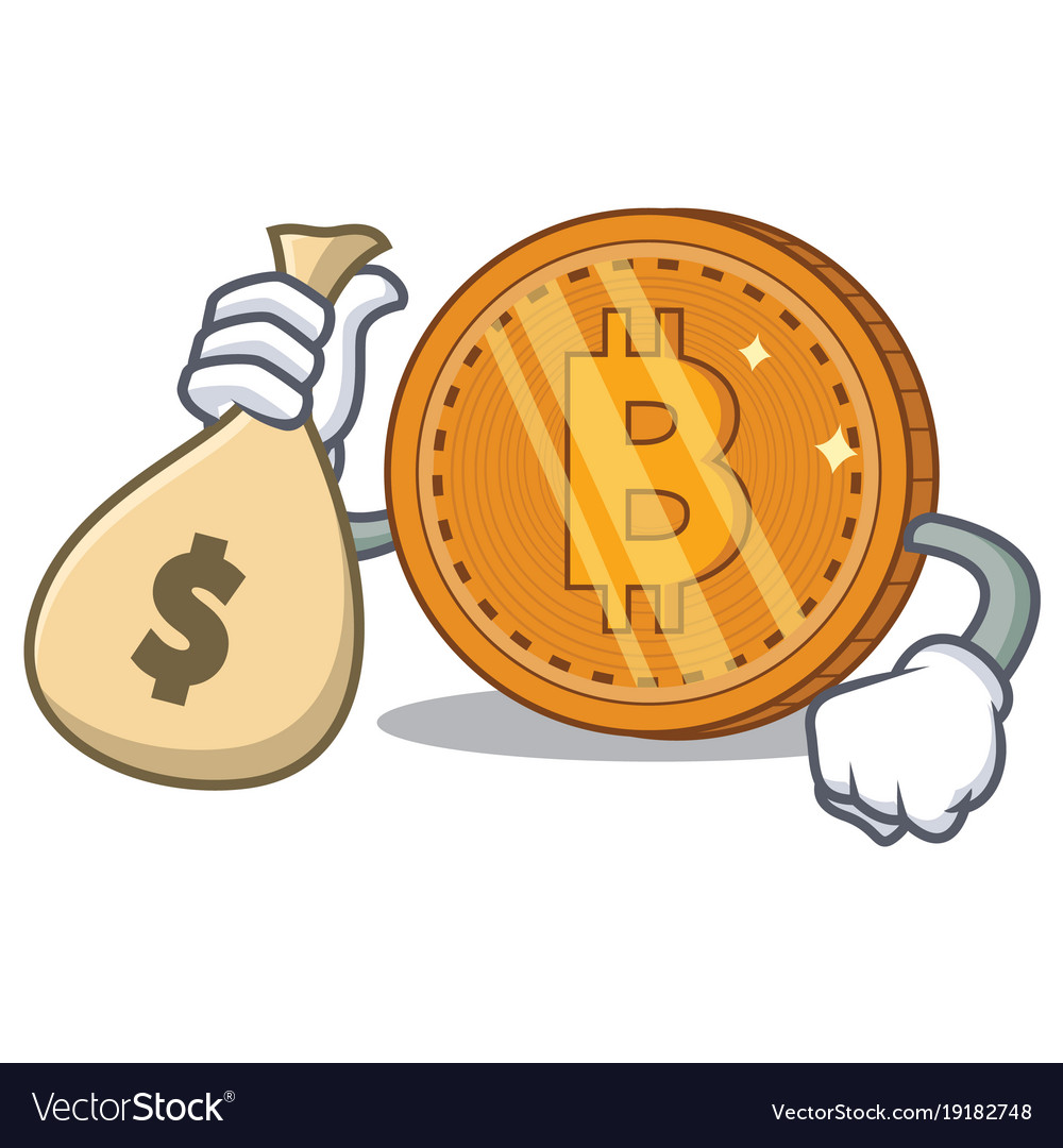 With money bag bitcoin coin character cartoon vector image