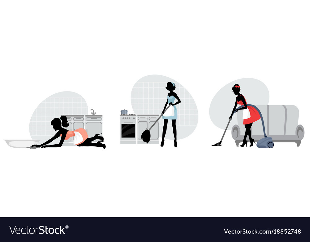 Women cleaning floors vector image