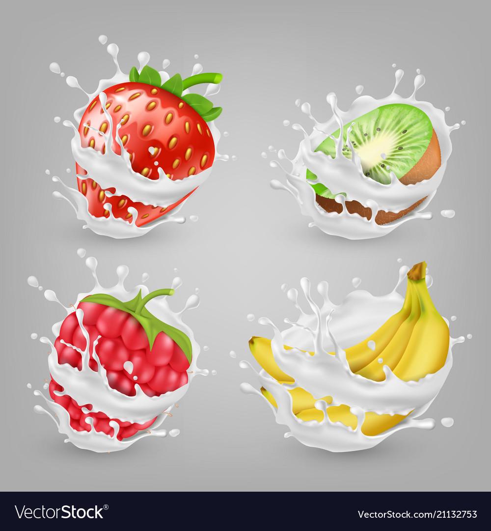 3d realistic berries fruits in milk