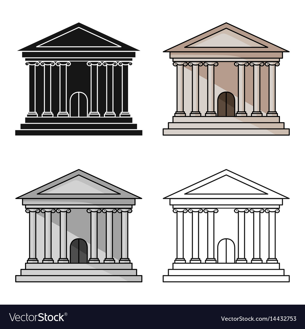 Bank icon in cartoon style isolated on white
