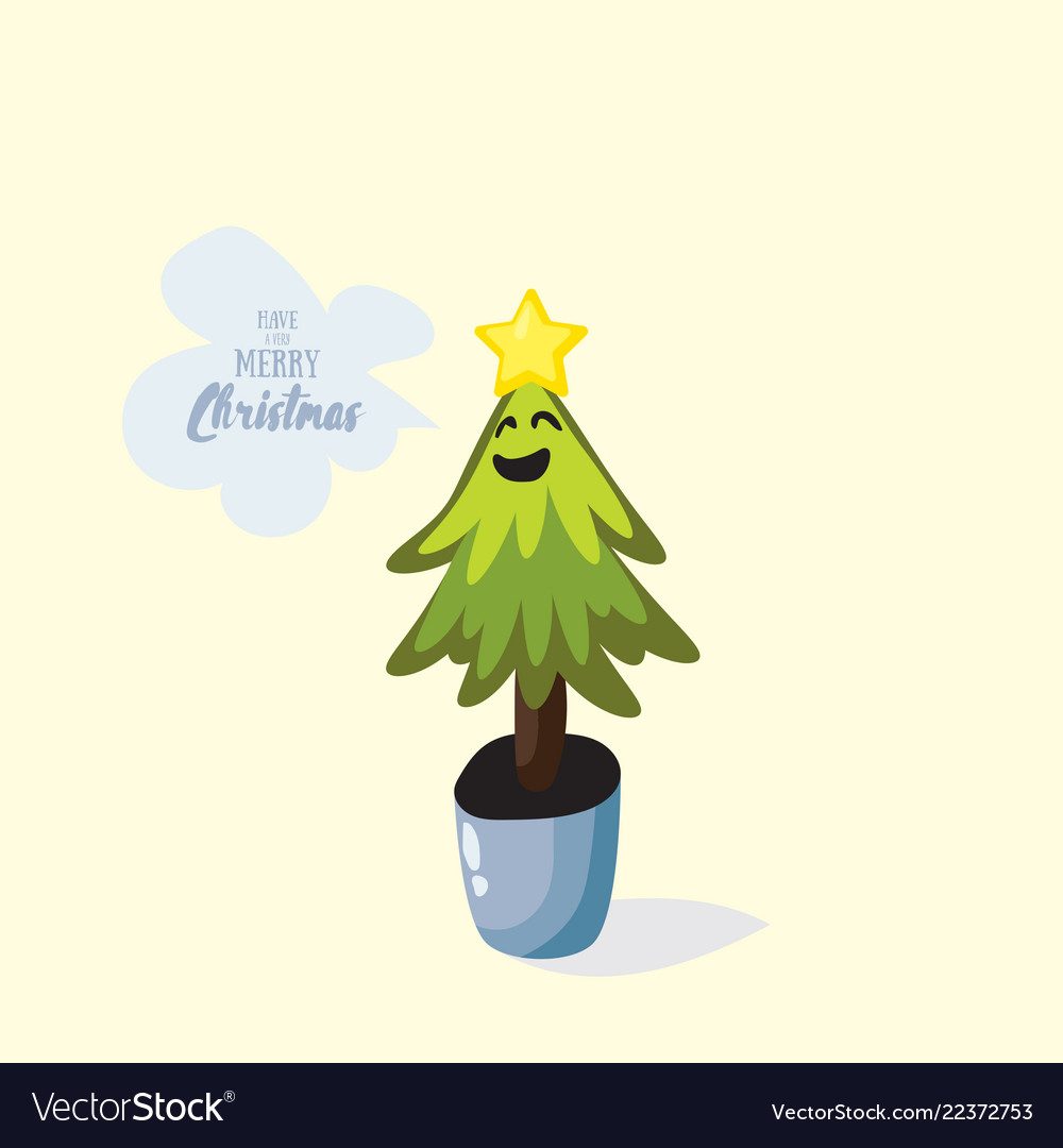 Cartoon christmas tree in the pot