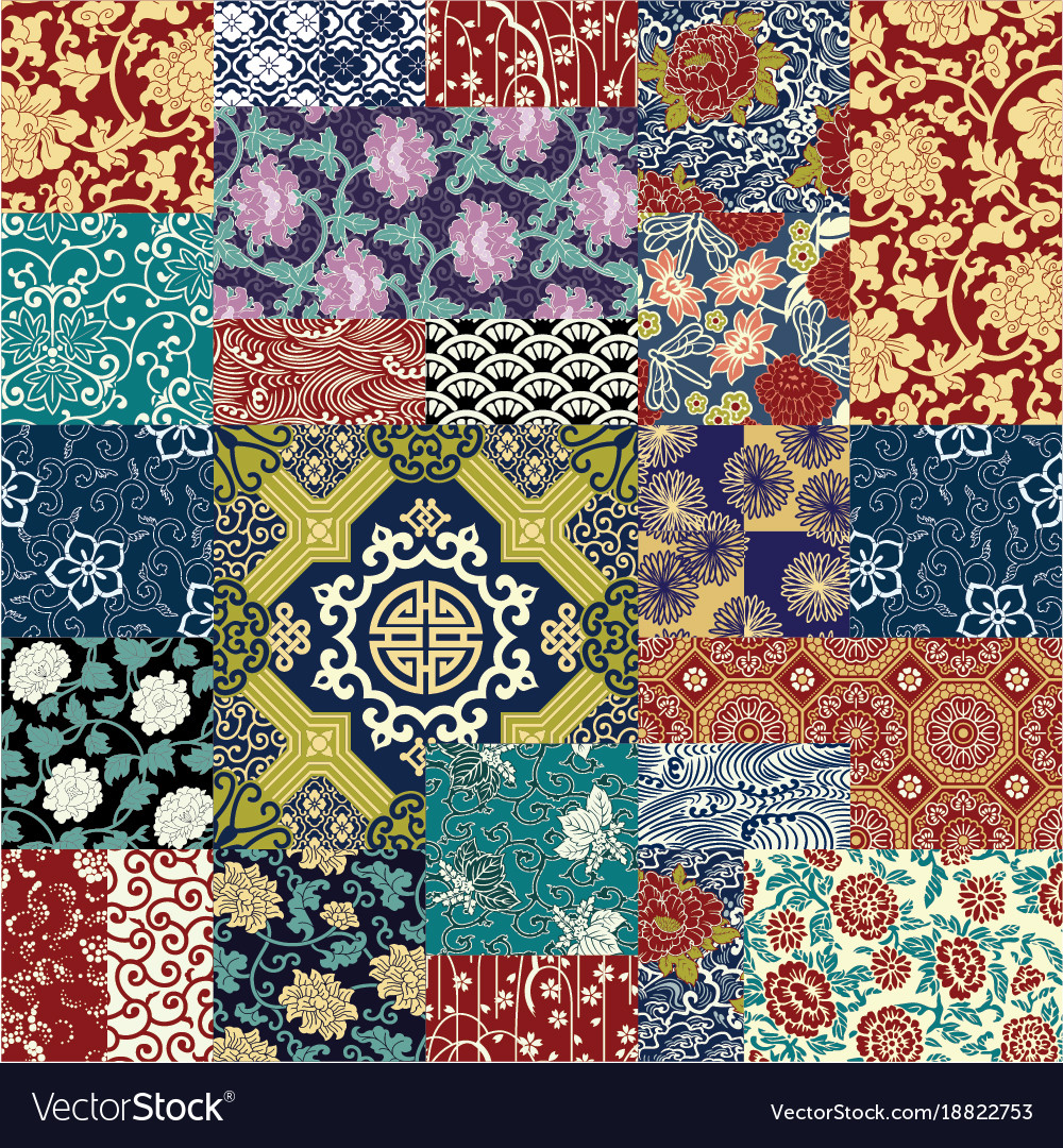 Chinese Style Fabric Patchwork Wallpaper Vector Image