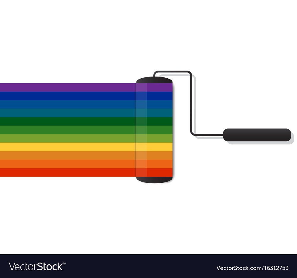 Colorful of paint roller brush vector image