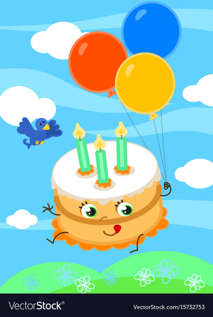 Cute Birthday Cake With Balloons Vector Image