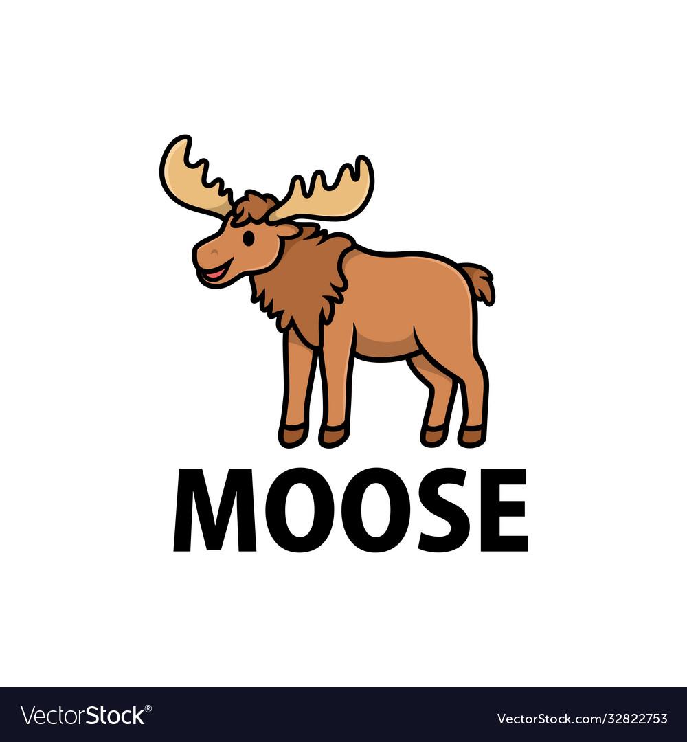 Cute moose cartoon logo icon