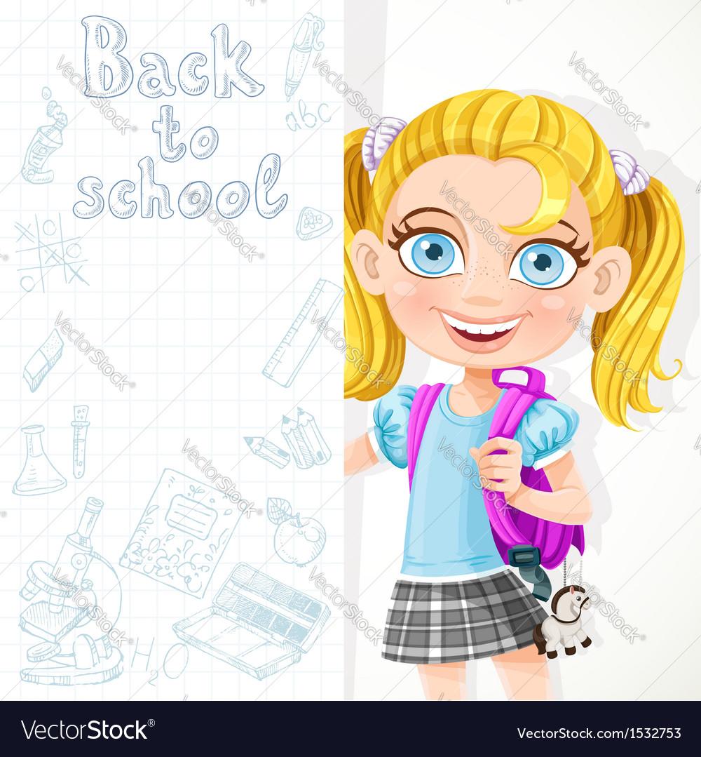 Cute schoolgirl hold big banner vector image