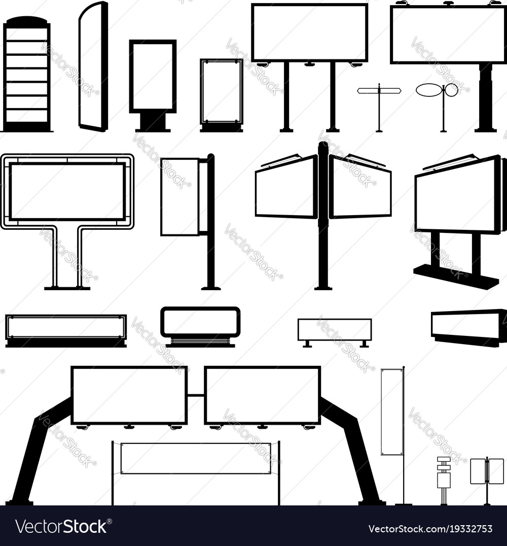 Icons set black billboard on a white background vector image