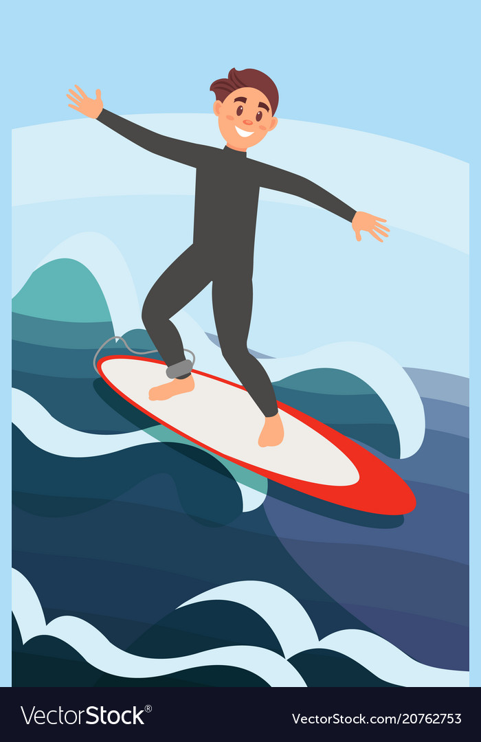 Joyful young man surfing on ocean waves extreme