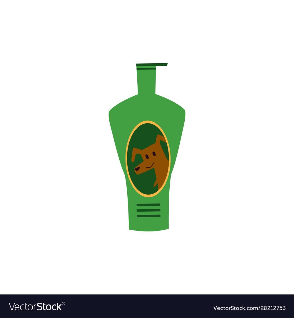 Pets treatment shampoo bottle icon flat cartoon
