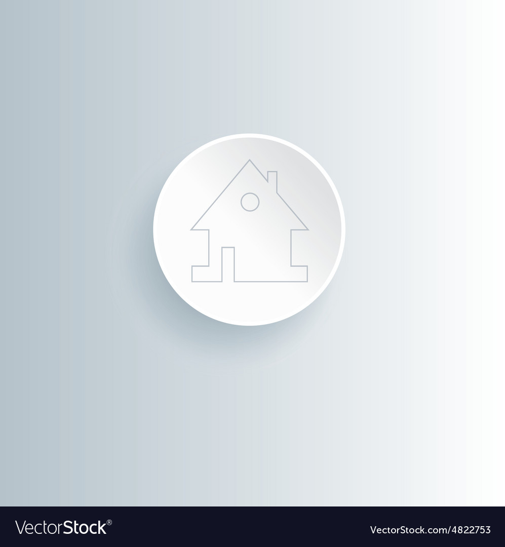 Round white web home page button with house icon