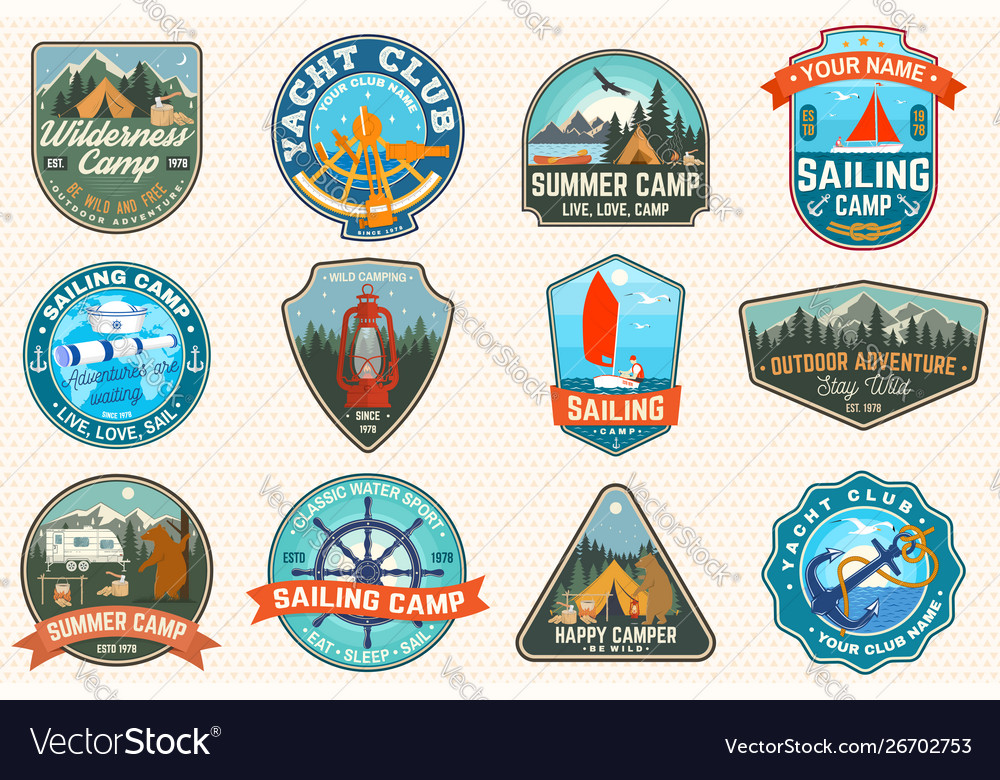 Set sailing camp and summer camp patches