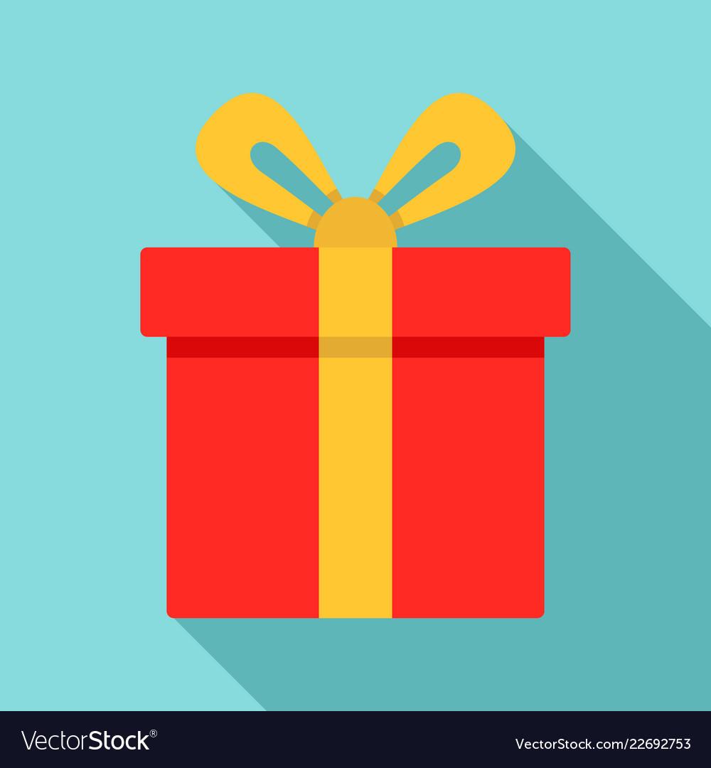 Xmas gift box icon flat style