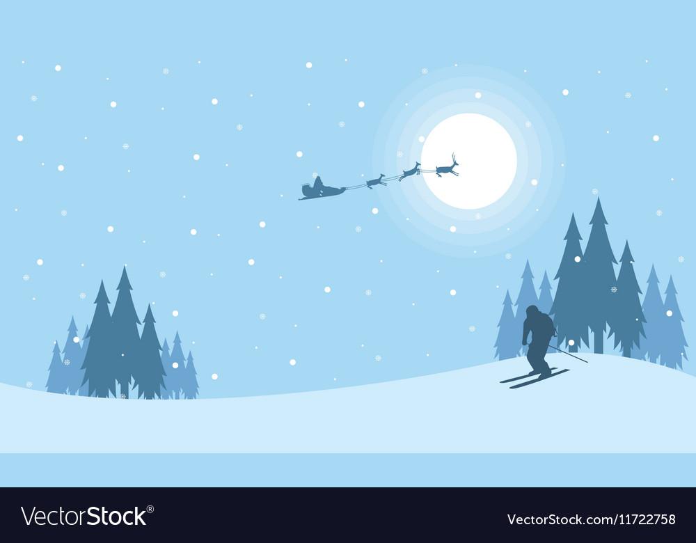 At night train Santa Christmas scenery