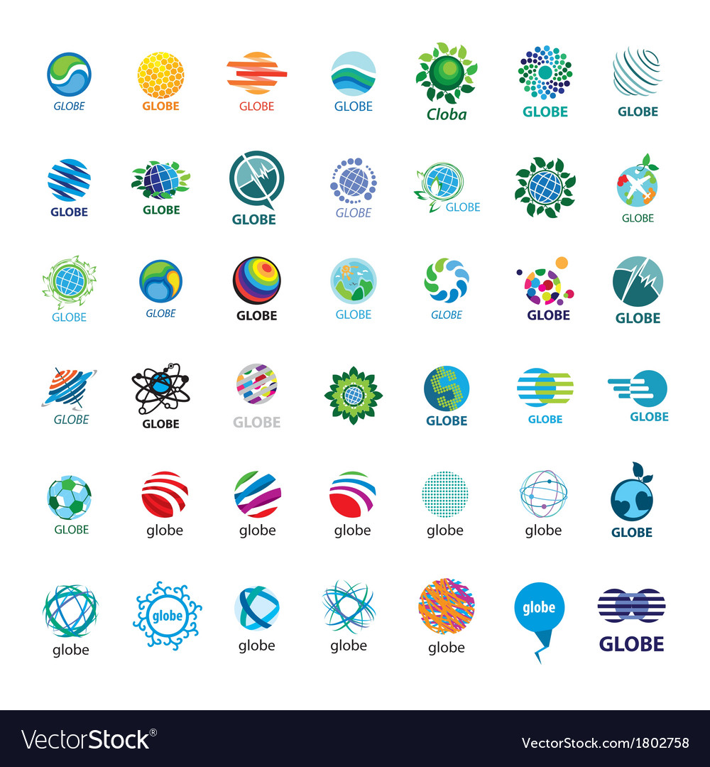 Biggest collection of logos Globe vector image