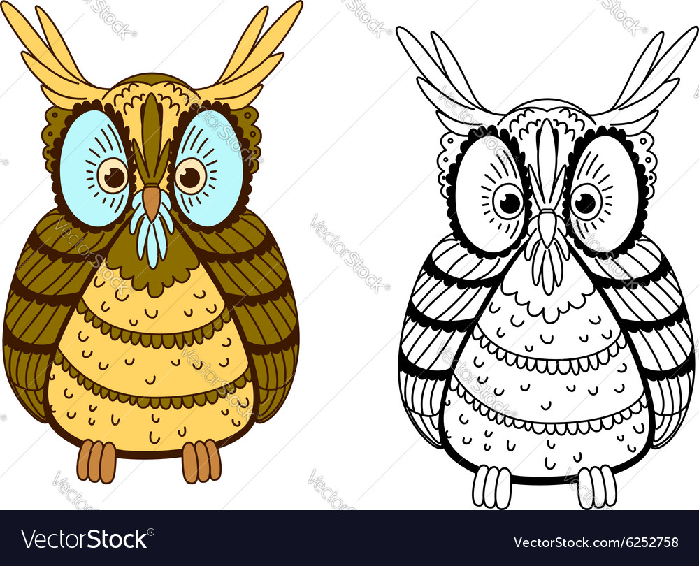 Cartoon colorful and outline eagle owl vector image
