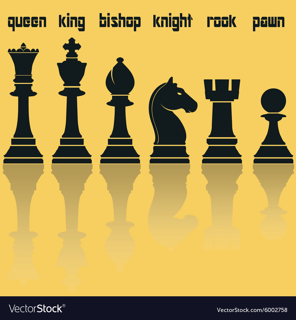 Chess Pieces Silhouettes with Reflection