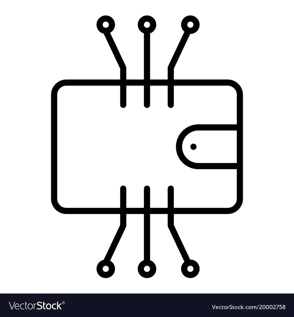 Cryptocurrency Wallet Line Icon Minimal Pictogram Vector Image