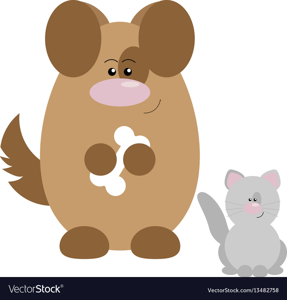Dog and cat happy vector image