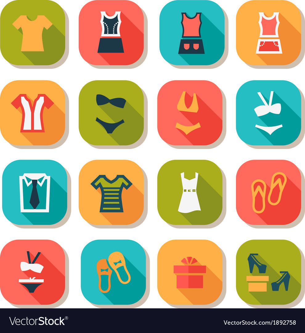 Flat fashion clothes icons