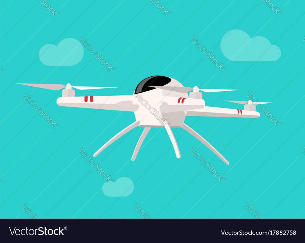 Flying drone isolated on blue