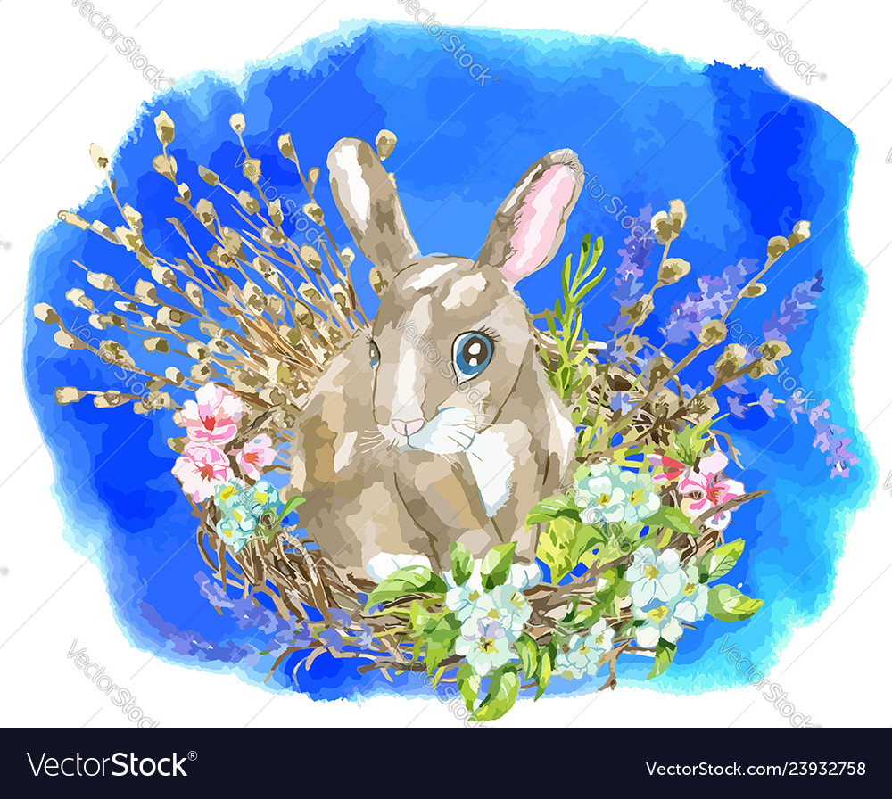 Funny rabbit in birds nest with willow twigs