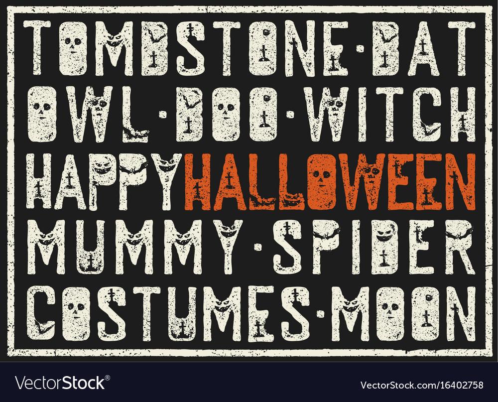 Halloween words decorative poster grunge stamp vector image