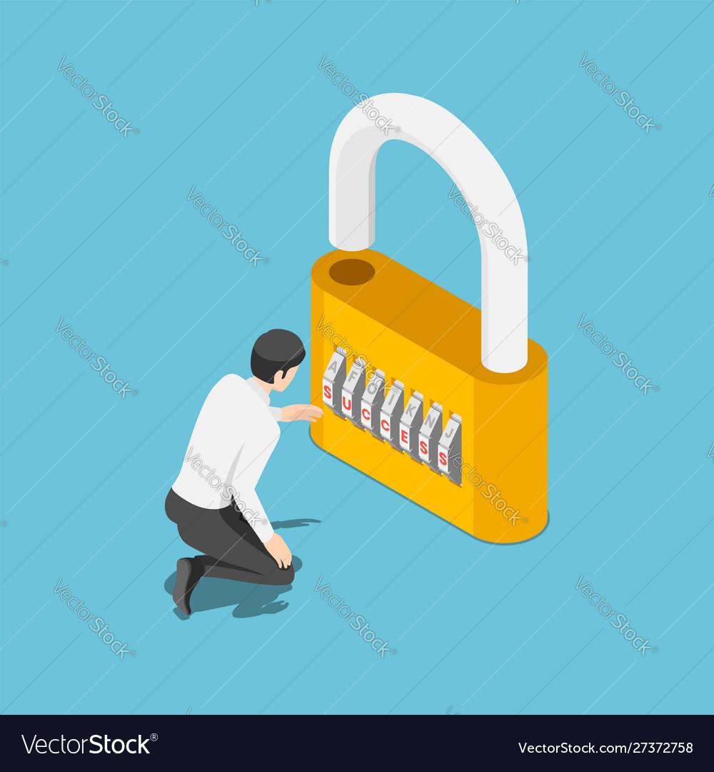 Isometric businessman unlock lock success