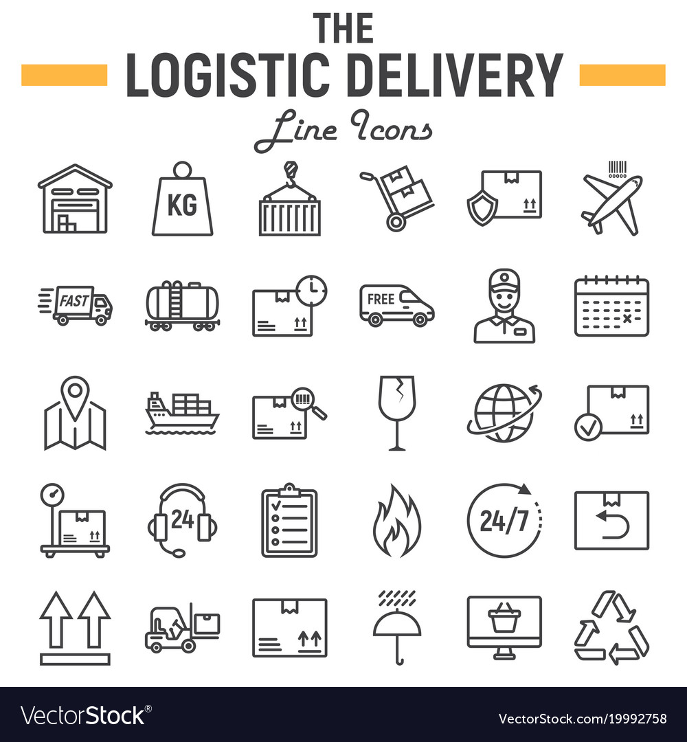 Logistic line icon set delivery symbols