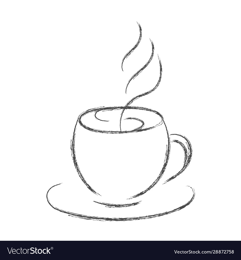 Pencil Drawing A Cup Hot Coffee Or Tea Royalty Free Vector