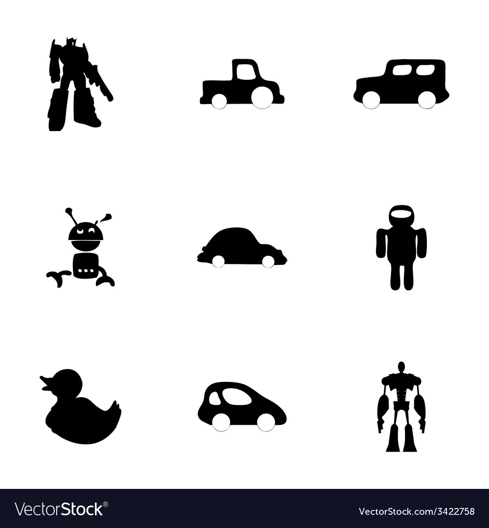 Toys icons set