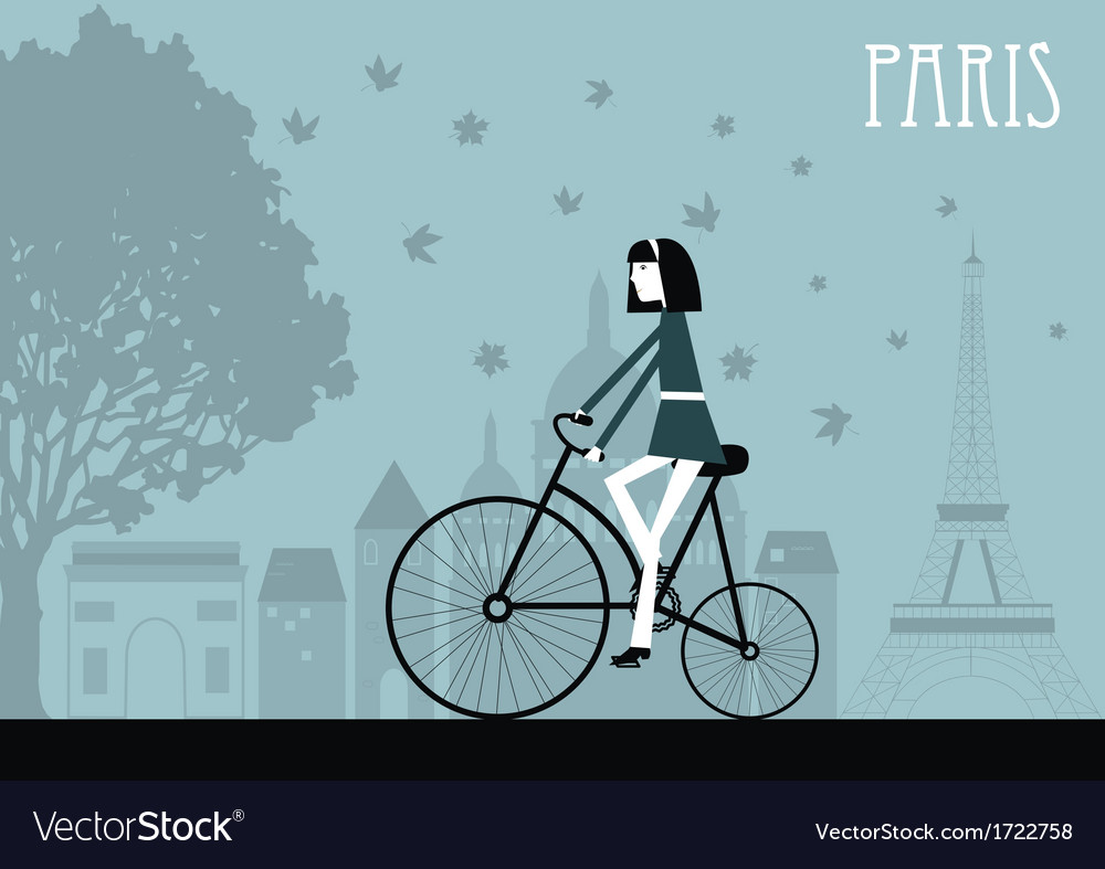 Woman on the bicycle in Paris