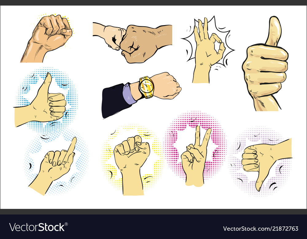 A set of male hand gestures