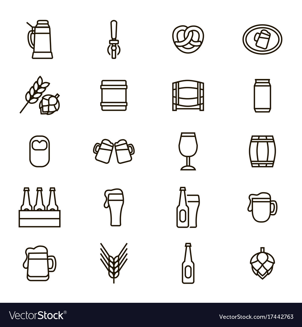 Beer alcohol drink thin line icon set