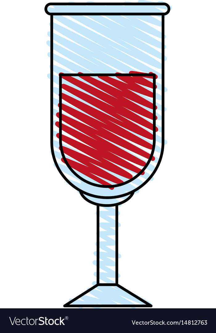 Color crayon stripe image glass cup with red wine