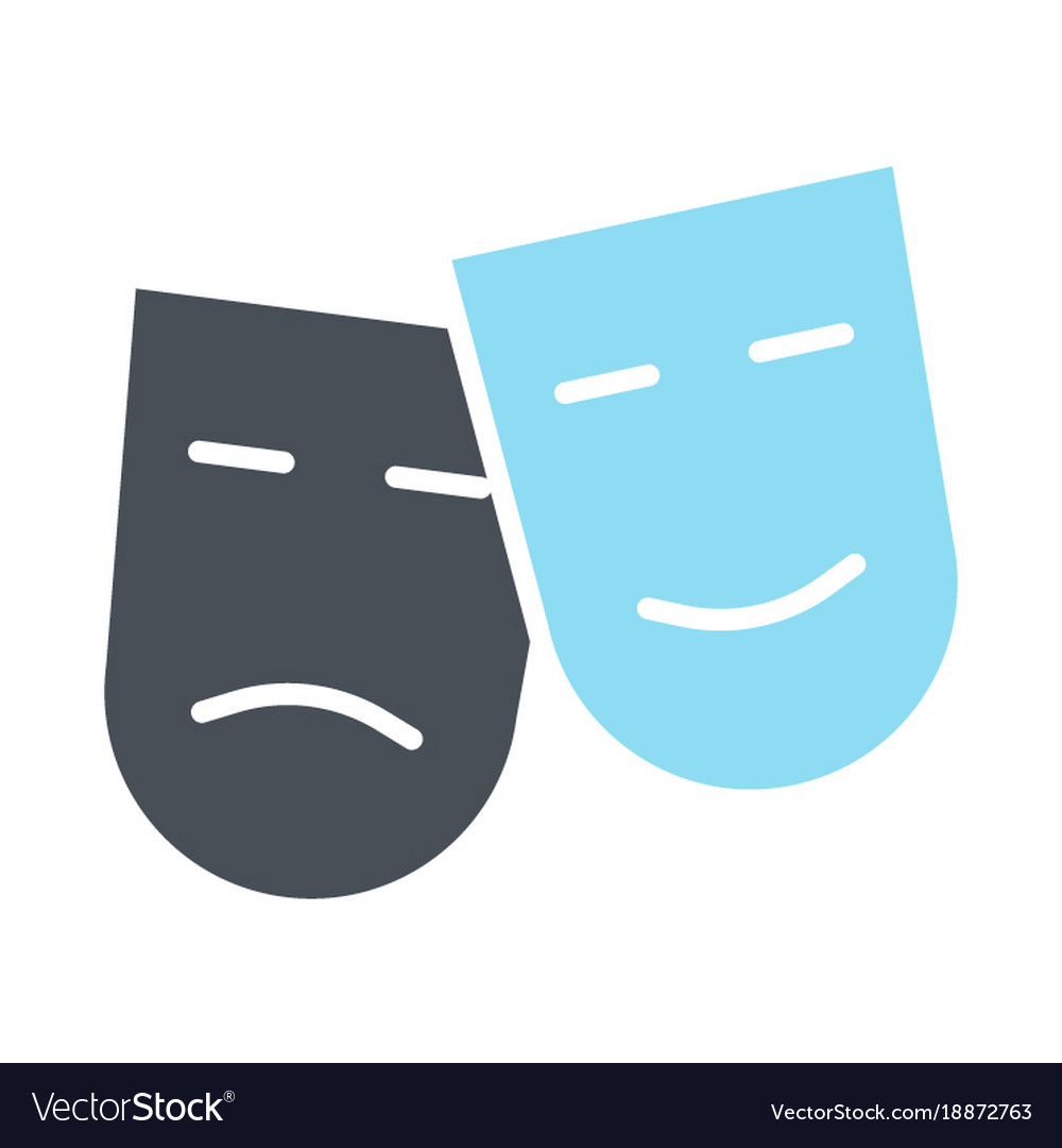 Comedy and tragedy theatre masks silhouette icon
