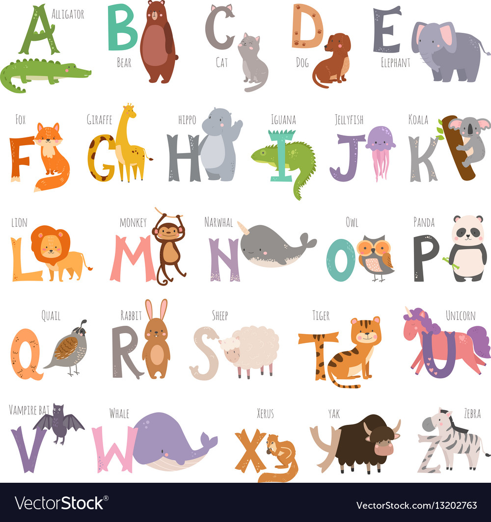 Cute zoo alphabet with cartoon animals isolated on