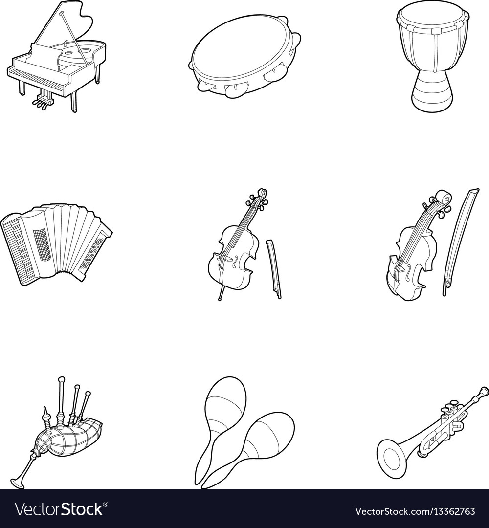 Device for music icons set outline style
