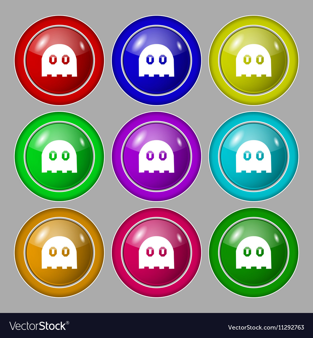 Ghost icon sign symbol on nine round colourful