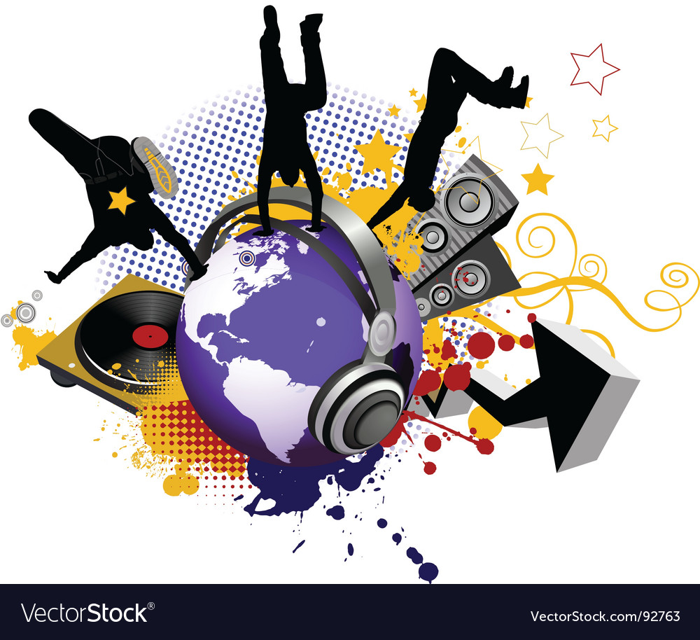 Globe with dancing youth men vector image