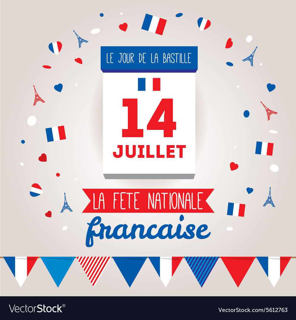 Greeting card design for the bastille day 14 july vector image m4hsunfo
