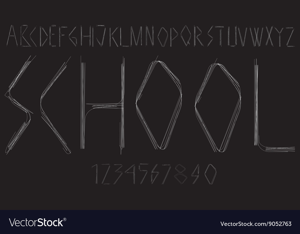Handwritten alphabet with letters and numbers