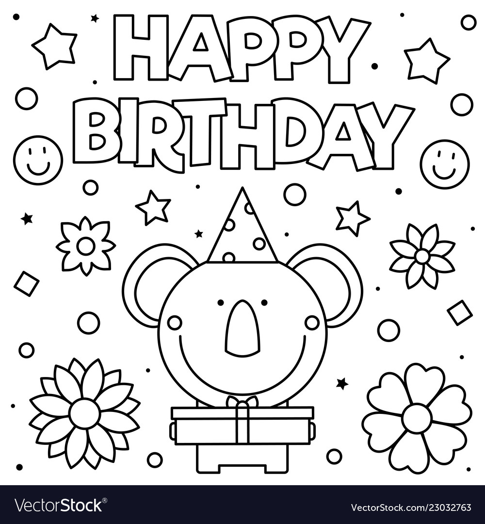 Happy Birthday Coloring Page Royalty Free Vector Image