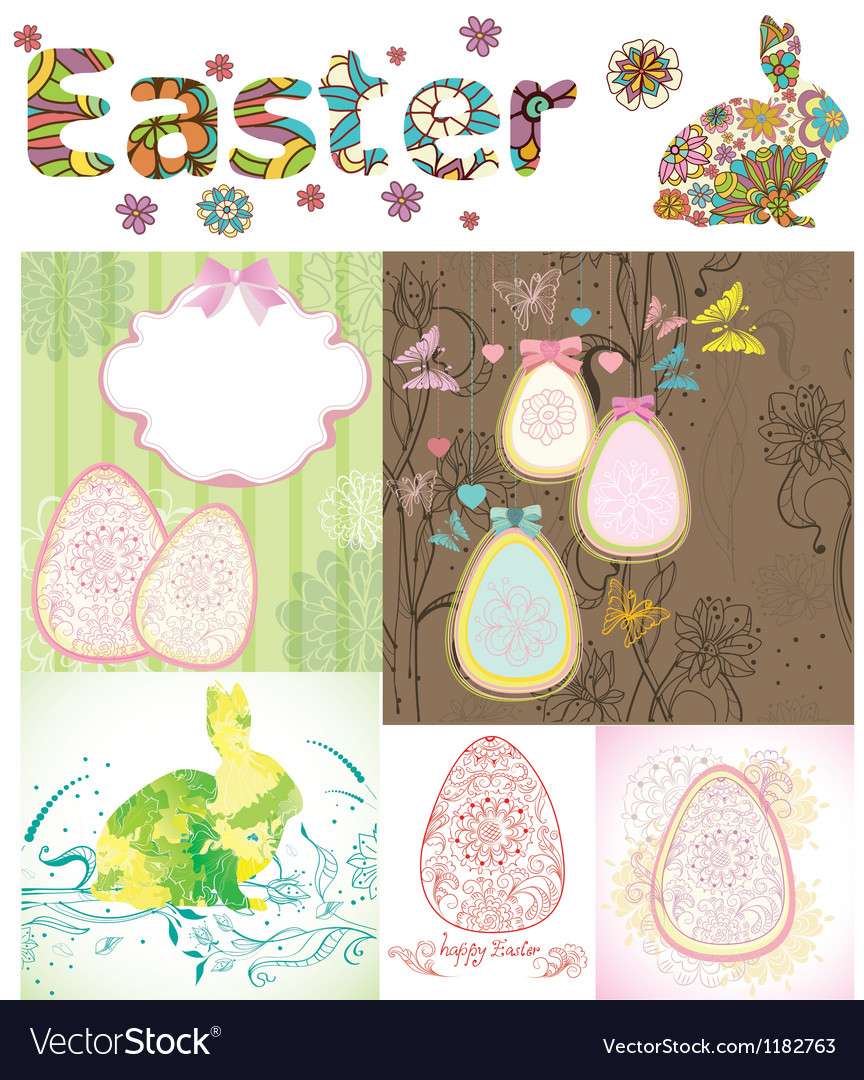 Happy Easter card set vector image