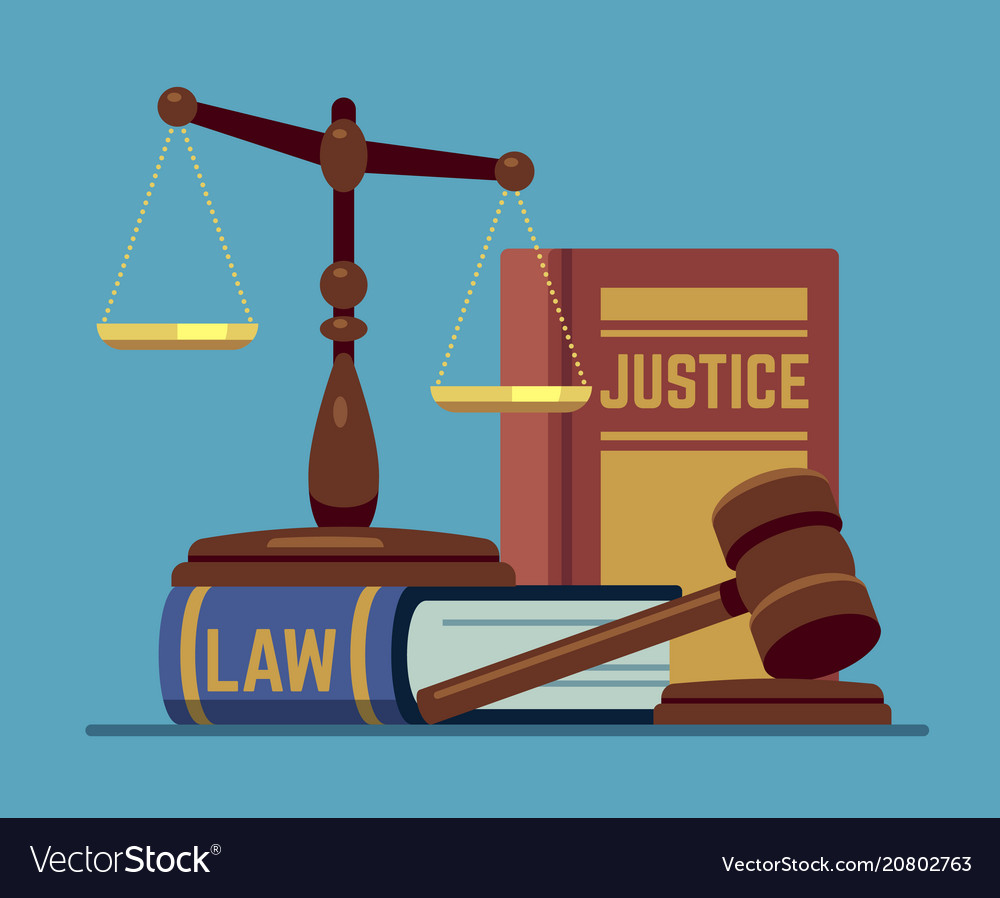 Justice scales and wood judge gavel wooden hammer vector image