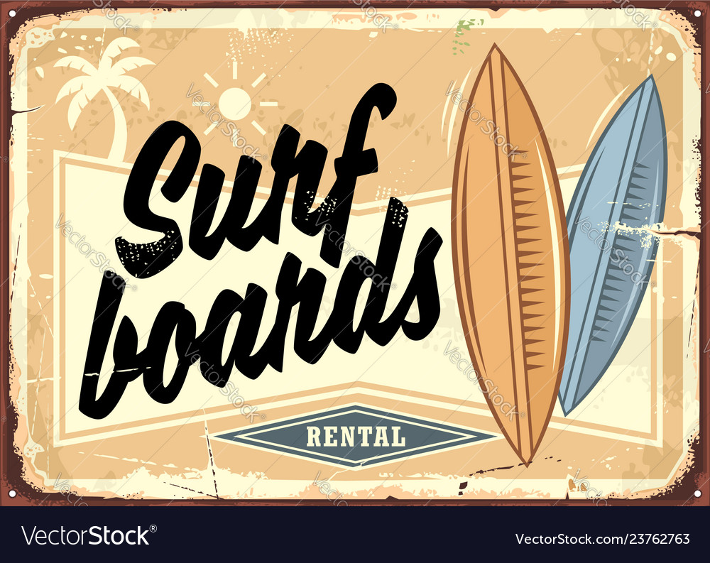 Surfboards rental retro beach sign layout