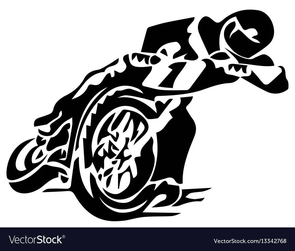 A silhouette of a motorcycle racer commits high